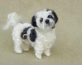 Needle felted Shih Tzu, custom made, miniature dog, pet portrait