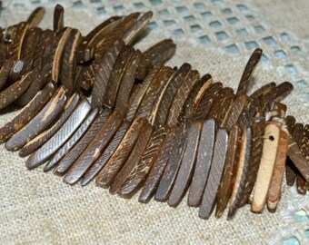 Dark Brown Natural Sticks Wood Beads Top-Drilled Stick 25x4mm 16 Inches Coconut Palm