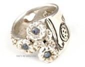Handmade Sterling Silver Gypsy Love Ring, Ladybug Ring, Bohemian Jewelry, Boho Ring, Hippie Ring,
