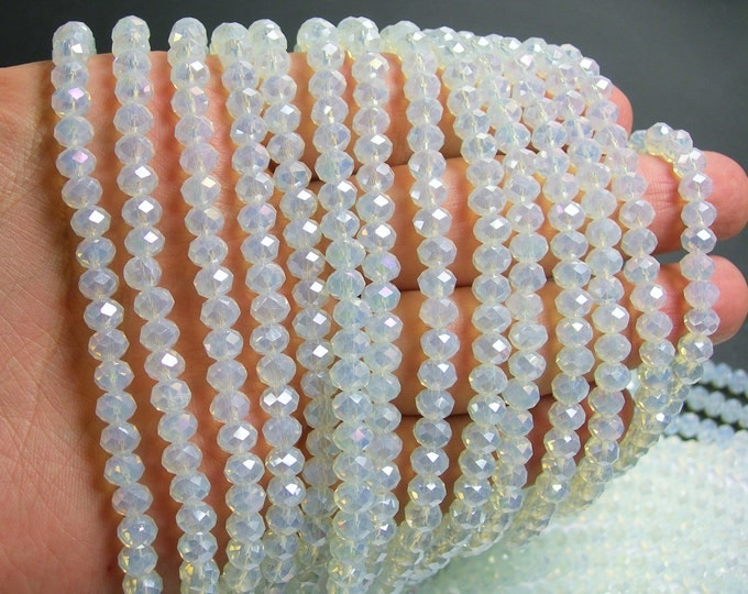 Crystal faceted rondelle - 88 beads - 6 mm - A quality - moonstone ab - full strand - DAC56