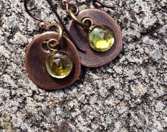 EARRINGS, COPPER, VINTAGE Czech Glass in Lime Green, Brilliant, Dangle, Niobium Earwires