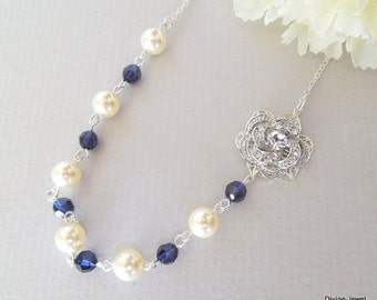 Pearl Necklace,Bridal Rhinestone Necklace,Ivory or White Pearls,Something Blue Necklace,Bridal Pearl Necklace,Pearl,Rose,Crystal,ROSELANI