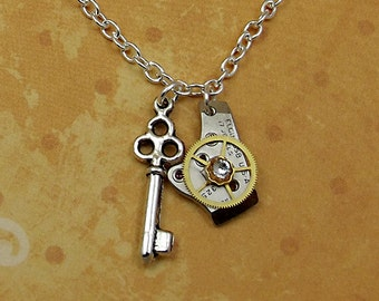 Key Watch Part Necklace, Gear, Stainless Steel, Mini Skeleton Key Charm