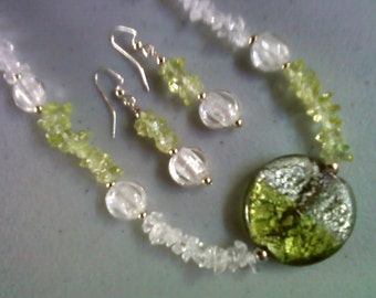 Peridot Green and Crystal Necklace and Earrings (0036)