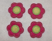 Feltie Machine Embroidered Hand made (4) Felt Flower CUT Embellishments / appliques
