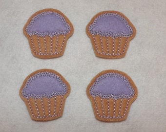 Feltie Machine Embroidered Hand made (4) Felt Cupcake CUT Embellishments / appliques