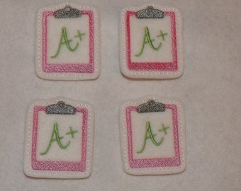 Feltie Machine Embroidered Hand made (4) Felt Clip Board CUT Embellishments / appliques