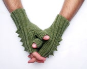 Mens fingerless mittens in forest green, knit spike half gloves