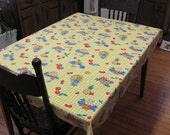 Retro Vintage Yellow Gingham Check and Fruit Print Rectangle Tablecloth