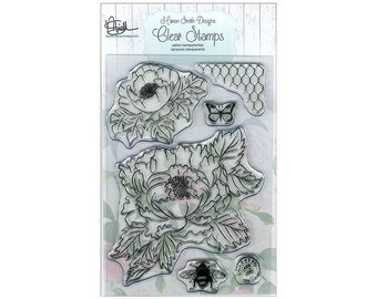 Marion Smith Stamps Garden Rose Leaves Bee Butterfly Acrylic Rubber Stamp
