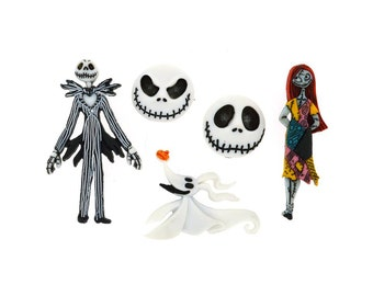 Nightmare Before Christmas Buttons Disney Licensed Character Novelty Shank Button Set Sewing Crafts