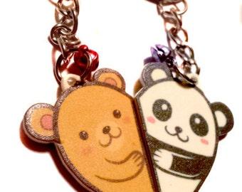 Cute friendship bears animal charm keychain set