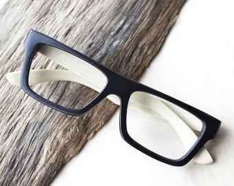 black two tone handmade bamboo   glasses  and wood box TAKE by Takemoto  MJX1202