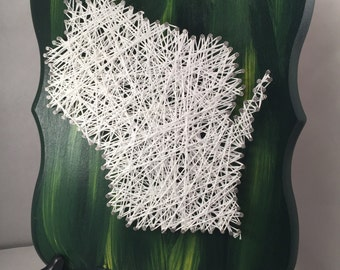 Wisconsin String Art   String Art   Wisconsin   Home Decor   Nail Art   Wisconsin Art   State String Art   Wisconsin Home