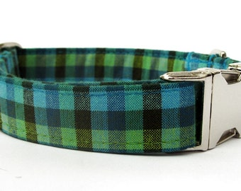 Teal Blue and Lime Green Gingham Plaid Dog Collar with Nickel Plate Hardware