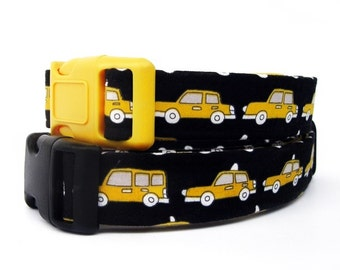 Taxi Cab Dog Collar in Bright Yellow and Black