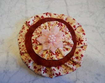 Fabric Flower Pin, with Felt and Sheer Pink Flower Center, Fashion Accessory Brooch, Fabric Hair Clip, Fabric Flower Brooch, Purse Decor