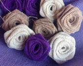 Purple Burlap Roses,Oyster Burlap,Natural Burlap,Rustic Burlap Flowers,Wedding Decor,Home Decor