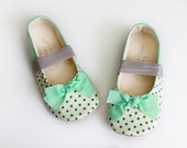 Baby Girl Shoes Toddler Girl Shoes Infant Shoes Soft Sole Shoes Spring Shoes Summer Shoes Mint Green Shoes Polka Dot Shoes Grey Shoes-Harper