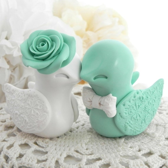 Wedding Cake Topper, Love Birds, Mint Green and White, Bride and Groom Keepsake