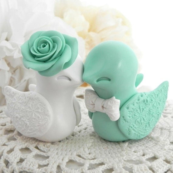 Wedding Cake Topper Love Birds Mint Green and White Bride
