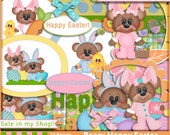 Easter Digital Paper Easter Digital Scrapbook Kit BEARY HAPPY EASTER Easter Card Kit Easter Papers Easter Craft Supplies Easter Egg Paper