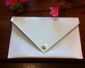 white patent leather envelope wallet