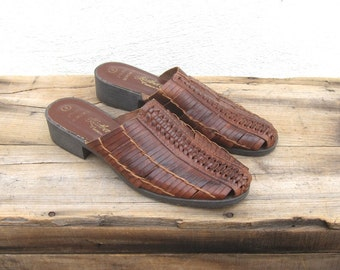 Vintage Woven Brown Leather Slip On Mules Ladies Size 8