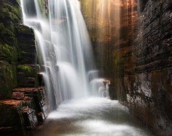 Triple Falls, Waterfall Photography, Photo, Print, Fine Art, Glacier National Park, Logan Pass, Waterfall Room, Alpine, Zen, Calm, Decor