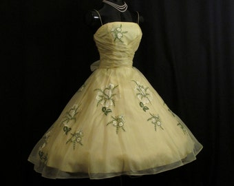 Vintage 1950's 50s Cupcake Lemon Yellow Silk Organza Embroidered Floral Applique Party Prom Wedding Dress