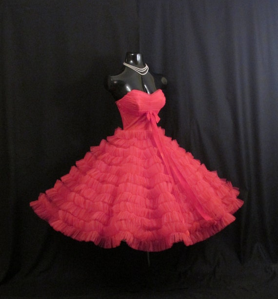 Vintage 1950's 50s Bombshell Strapless RED Tulle By