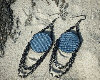 Denim Earrings- Denim & Chains
