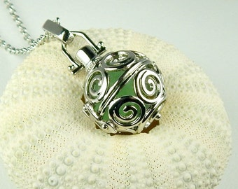 Round Spiral Locket Necklace GENUINE Aqua Sea Glass Jewelry Beach Jewelry On Long Chain