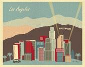 Los Angeles Skyline Art Print, LA Baby Print, Los Angeles California, Retro Hollywood Art Print, Pastel LA Wedding style blue style E8-O-LA2