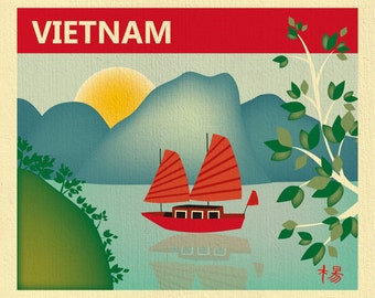Vietnam Skyline Art Print, Halong Bay Skyline Art Print, Vietnam Retro Travel Art,  Vietnamese decor, Loose Petals City -  style E8-O-VIE