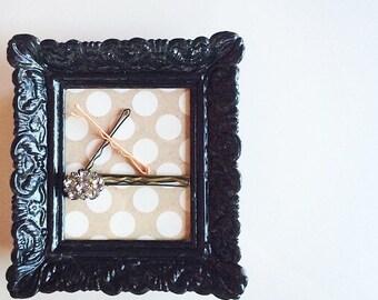 Bobby Pin Holder, Hair Pin Holder, magnetic picture frame, frame with magnets: polka dot and black frame