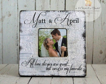 Personalized Wedding Picture Frame, All Love Stories Are Great But Ours Is My Favorite, Shabby Chic Picture Frame, Custom Picture Frame