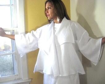 White Jacket, White Linen Jacket, Cape Collared Jacket, Swing Jacket, Lace Insert, Wedding, All White Event, Summer, Anytime, Feminine, Easy