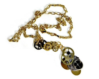 OOAK Sprocket and Watch Parts with Black Swarovski Crystals and Gold Chain Steampunk Necklace
