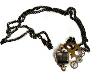 OOAK Steampunk Necklace with Vintage Watch Parts Pendant and Antiqued Brass Chain