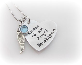 Sister Of An Angel Necklace Personalized Memorial Remembrance Sympathy Jewelry Loss of Sister or Brother Custom Name Angel Wing Birthstone