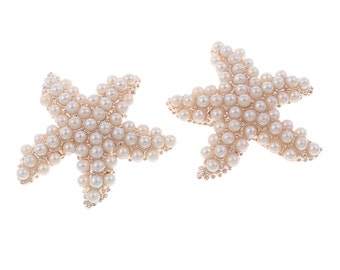 SALE 4 Large Pearl Gold Starfish Rhinestone Buttons Flatback Metal Embellishment Bridal Wedding Supplies flower centers