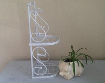White Metal Shelf, vintage metal shelf, metal plant stand, Bathroom Shelf