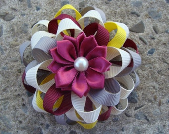 Flower Hair Bow Loopy Hair Bow maroon yellow grey and ivory hair bow ribbon flower hair bow