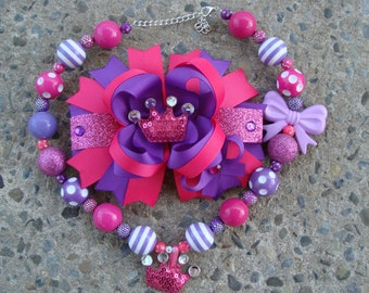 Pink and Purple Hair Bow Princess hair bow Crown hair bow and chunky necklace