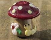 Brown Spotted Mushroom Caterpillar Lampwork Glass Handmade SRA OOAK Bead NLC Beads leteam