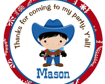 cowboy birthday stickers - birthday sticker -- gift tag favor tag