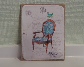 Sign miniature dollhouse French chair one inch scale 1:12
