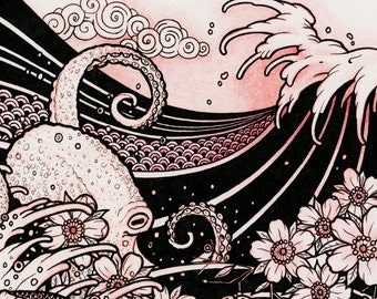Waves 02 - Japanese Tattoo Style Original Sketch Drawing - Waves, Octopus, Cherry Blossom, Moon, Koi - 8x10 Art Print