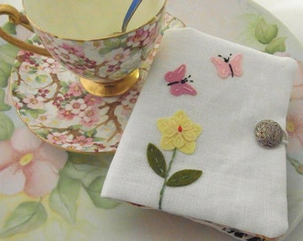 Tea Wallet Spring Garden with Butterflies Embroidered Felt Applique on Linen
